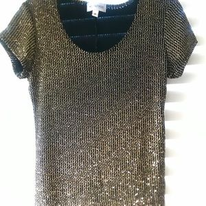 Metaphor Gold and Black Sparkle Top Size Small